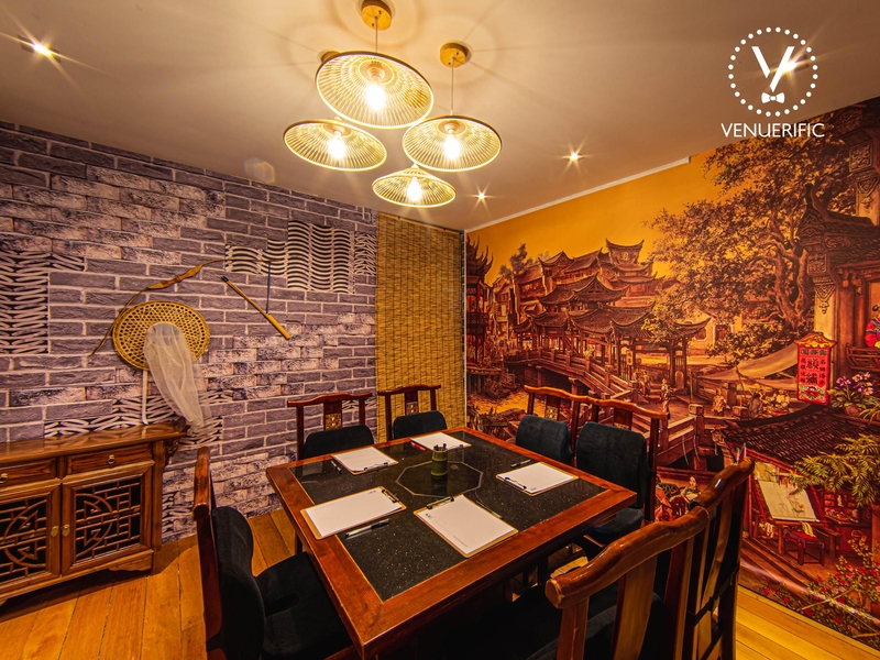 room with traditional Chinese furniture and wallpaper