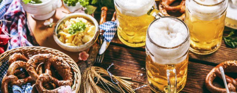 pretzel and beers for oktoberfest celebration