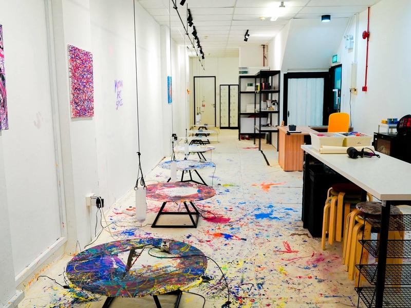 art studio with different art supplies