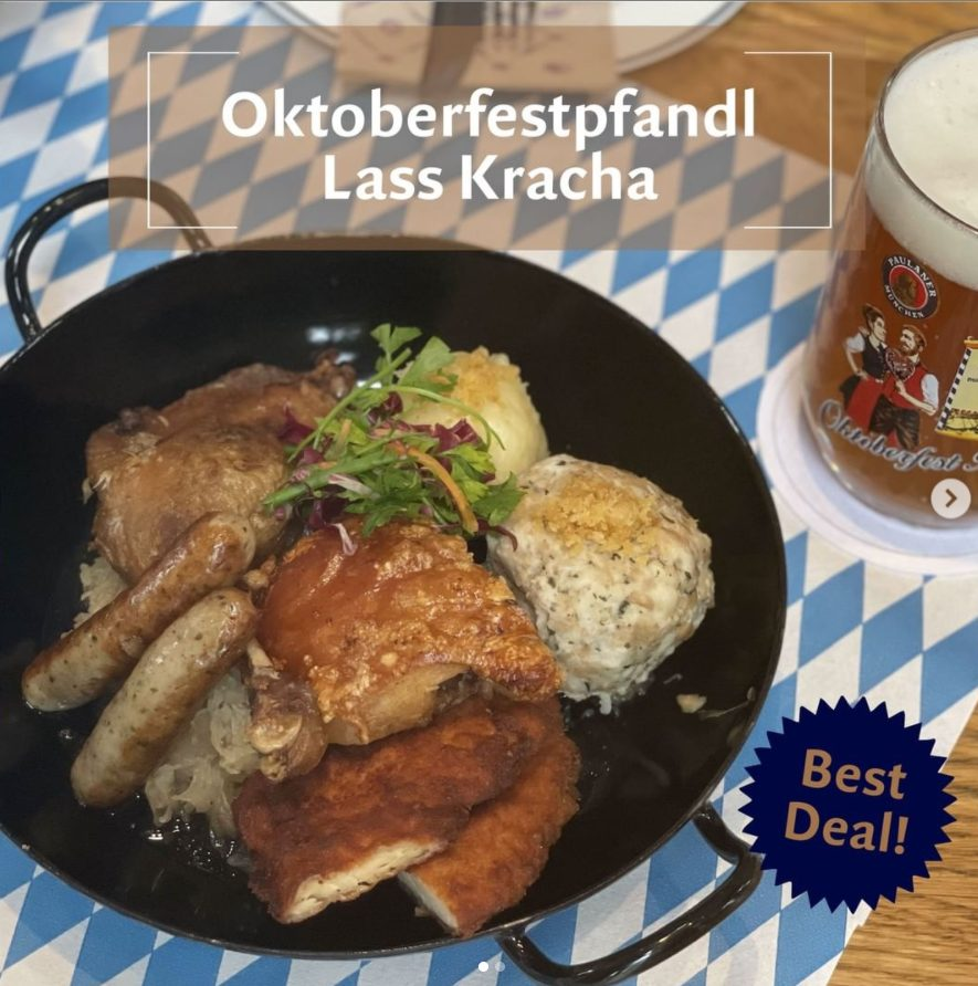 Oktoberfest foods with a glass of beer
