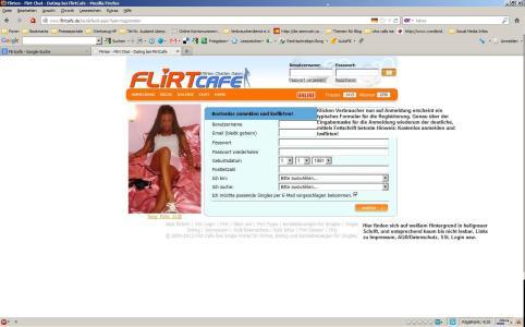 Screenshot: Flirtcafe-Anmeldung