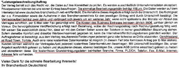 Branchenbuch Deutschland Leistungsbeschreibung