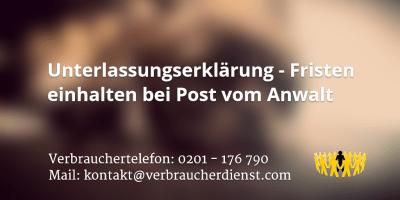 Beitragsbild: Unterlassungserklärung - Fristen einhalten bei Post vom Anwalt