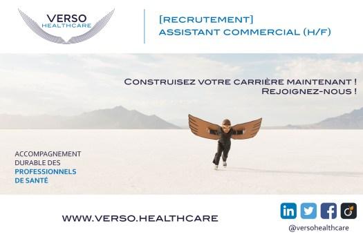 [Recrutement] Assistant(e) Commercial(e) Intéressé.e par une offre dans le domaine de l'assistanat commercial?  Vous connaissez une personne en recherche de poste dans ce métier ?  Verso Healthcare recrute un(e) assistant(e) commercial(e) en CDI temps plein.