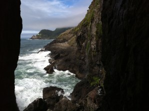 Looking at Heceta Head lighthouse from the Sea Lion caves