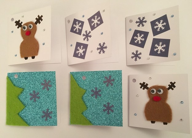 Christmas gift tags, trees, reindeer and snowflakes