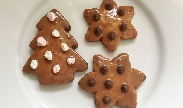 Chocolate icing covered Christmas shortbread - Christmas tree and snowflakes