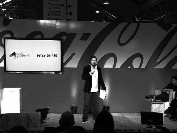 MC'ing the startup competition pitches at the Dublin Web Summit, November 2014.