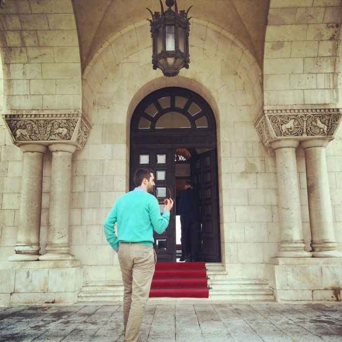 Crown Prince Alexander II of Serbia leading the way in to his humble abode - The Palace