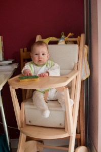 Alice on her highchair