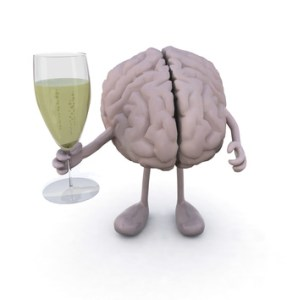 brain with arms and legs and glass of white wine
