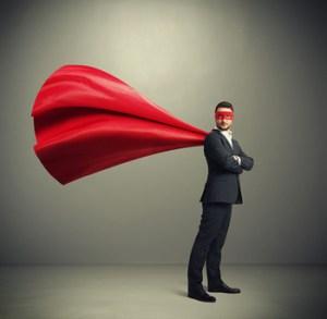 businessman dressed as a superhero