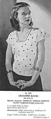 free vintage crochet pattern blouse
