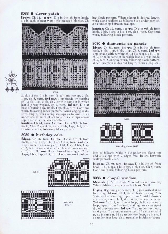 filet crochet edges closver patch vintage diamonds | birthday cake