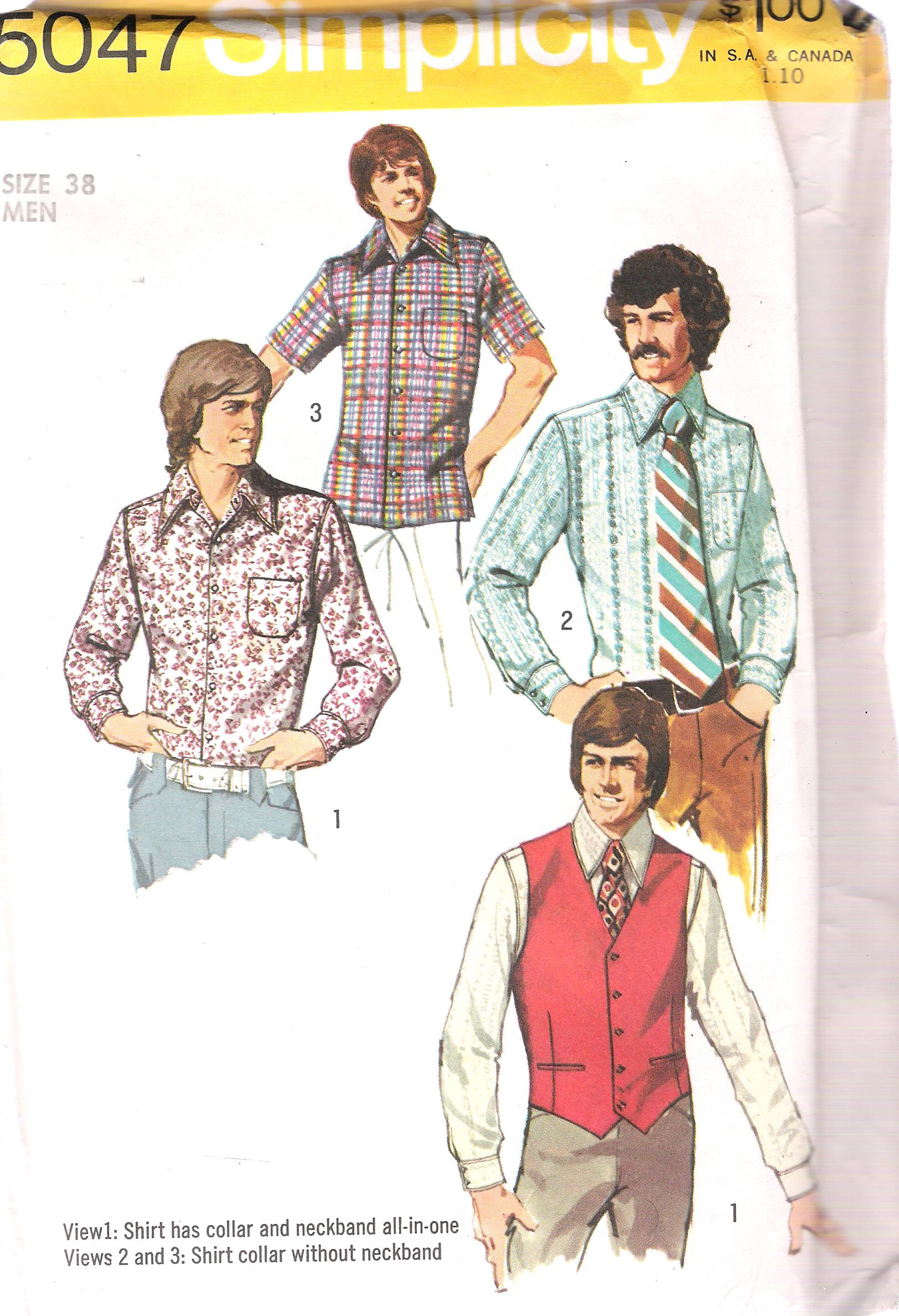 5047 Simplicity Vintage Men Shirt Sewing Pattern Chest 38 Inches