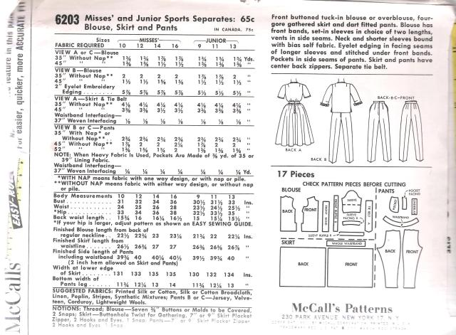 6203 Mccalls dress vintage sewing pattern pants blouse