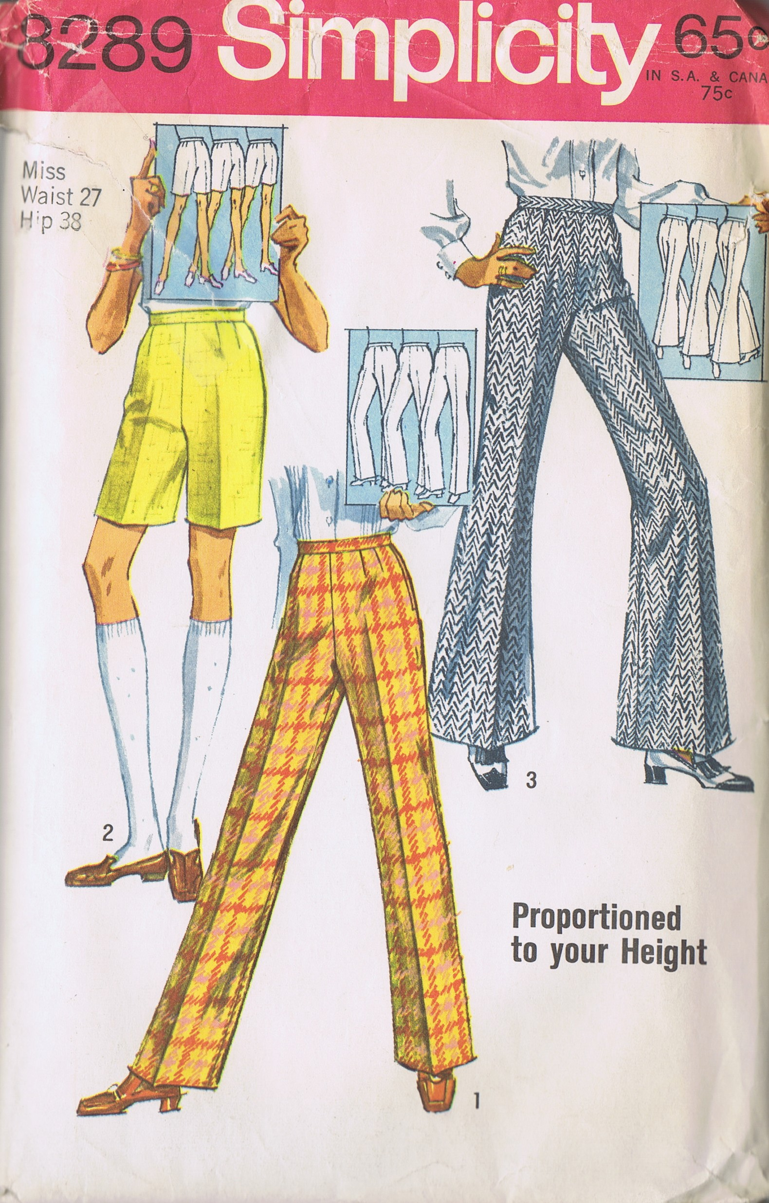 Vintage Pants Shorts 60s Sewing Pattern 8289 Simplicity HIP 38 Inches UNCUT