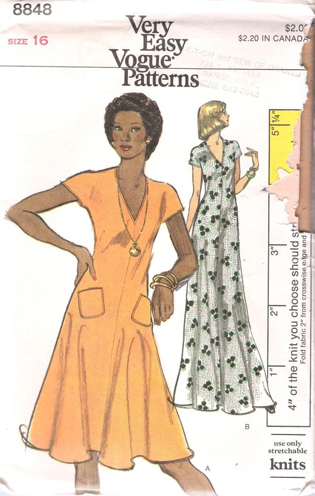 8848 vintage very easy vogue dress pattern size 16