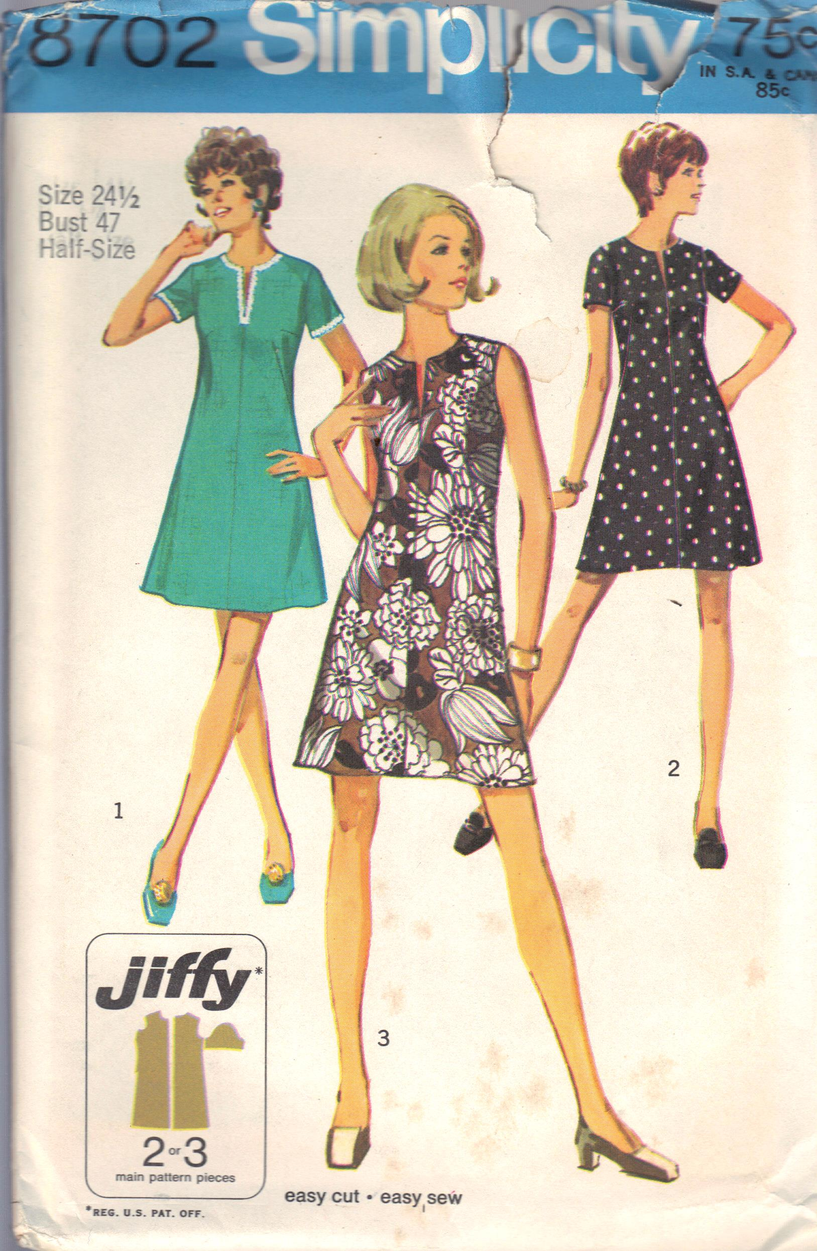 vintage dress sewing pattern 8702 simplicity