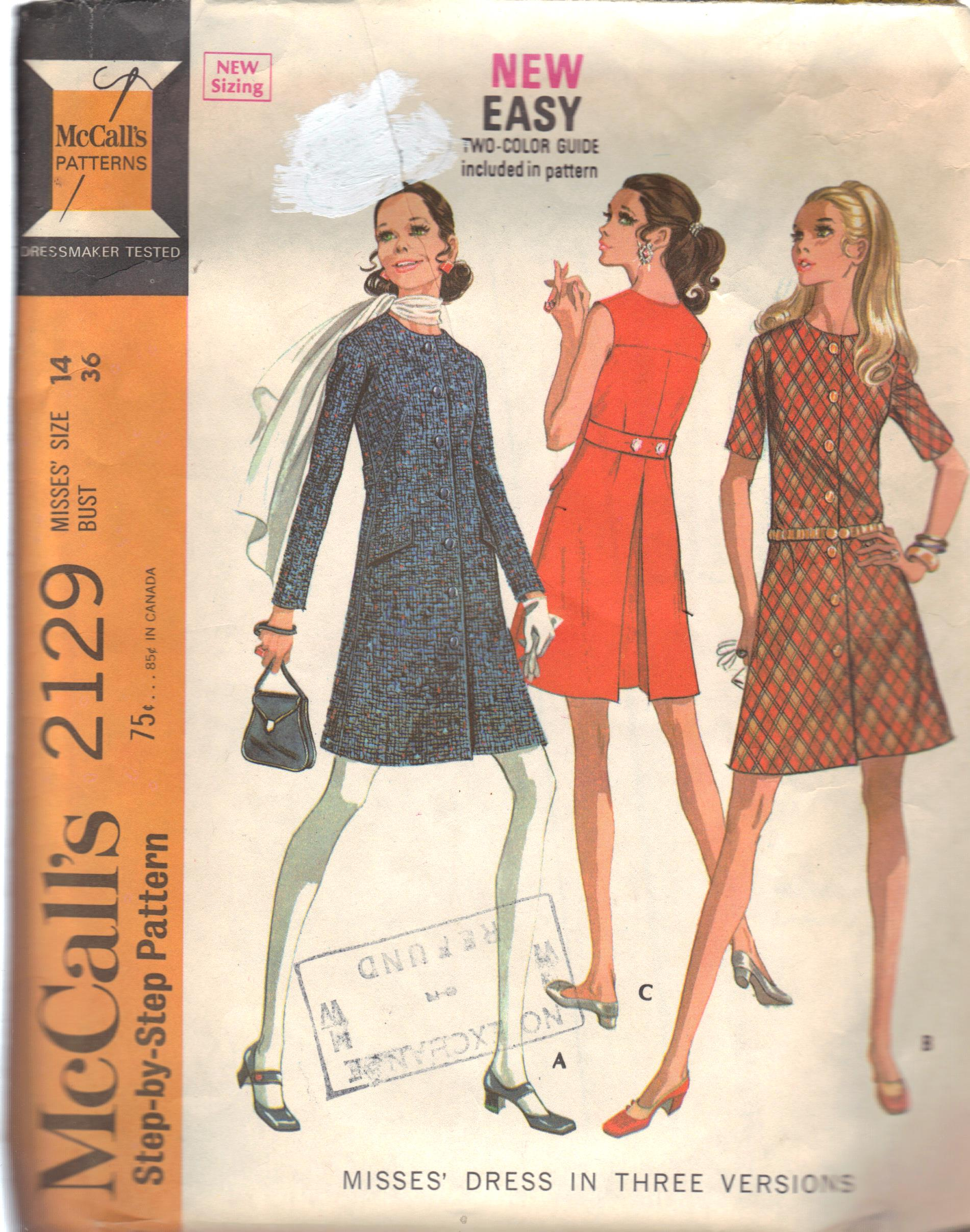 vintage dress sheath pattern mccalls 2129 bust 36 inches