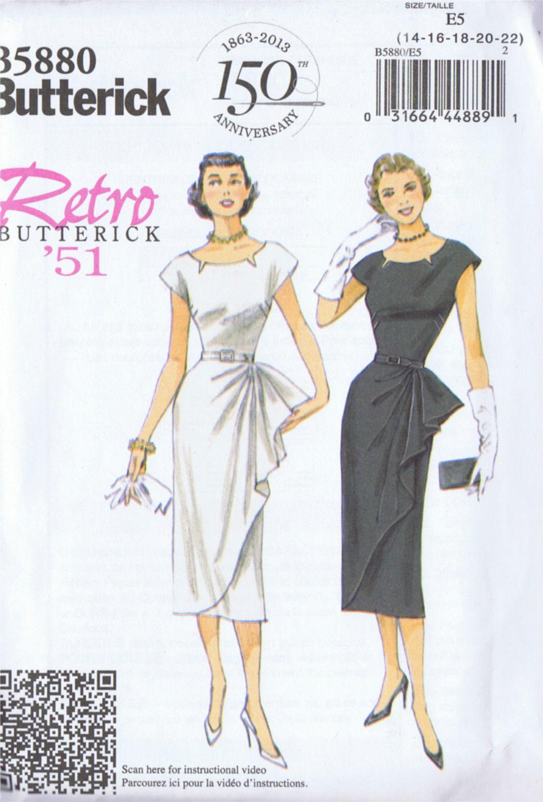 BUTTERICK 5880 Cocktail Dress 50s VINTAGE