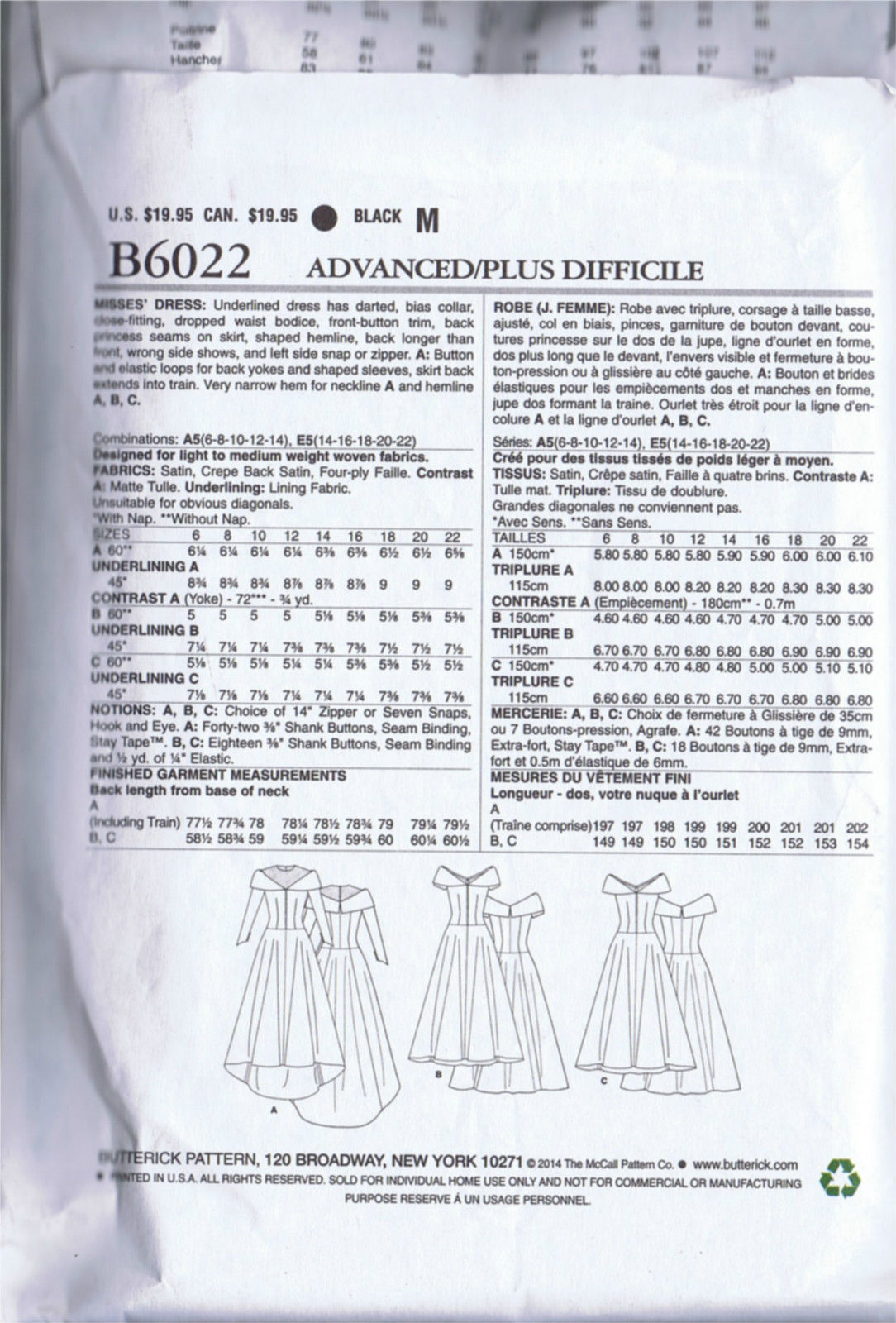 SEWING PATTERN Bridal Evening Gown 1950s VINTAGE BUTTERICK 6022