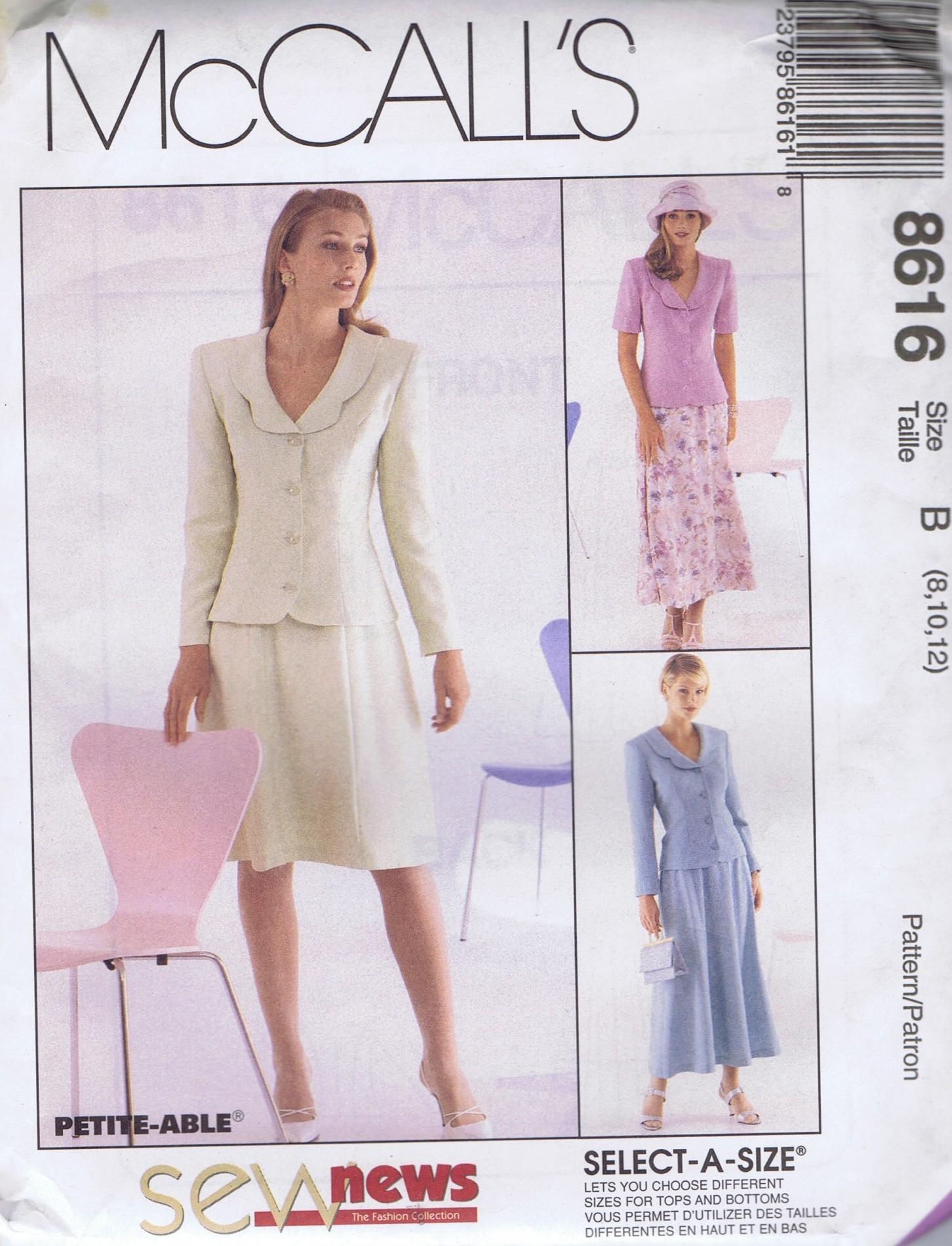 MCCALLS 8616 Suit Jacket Skirt Sewing Pattern SIZE 8-12 UNCUT