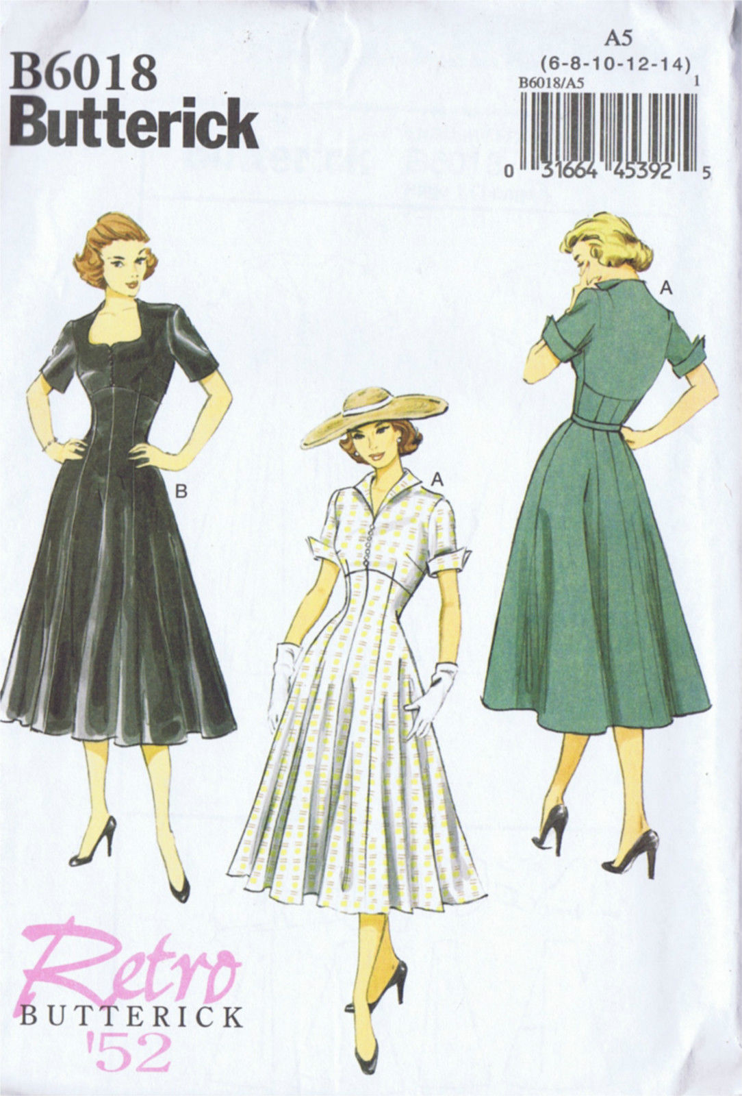 6018 Butterick Sewing Pattern One Piece Dress Vintage Reproduction