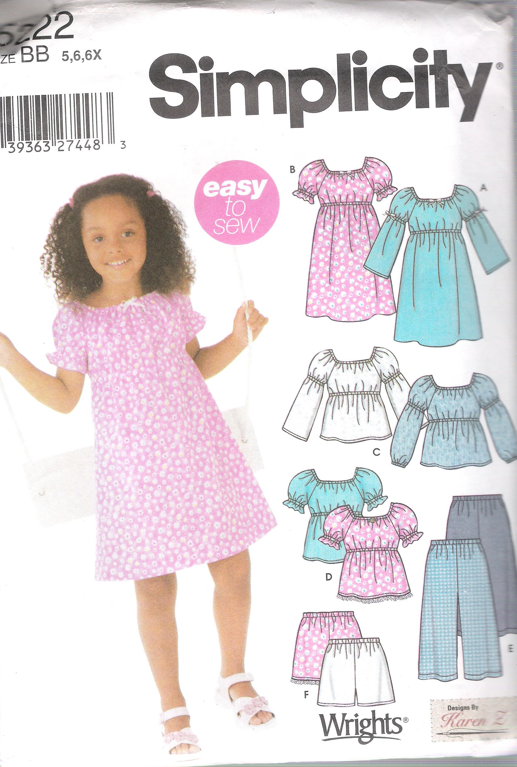 5222 Simplicity Girls Dress Top Shorts Pants Size 5 to 6X UNCUT