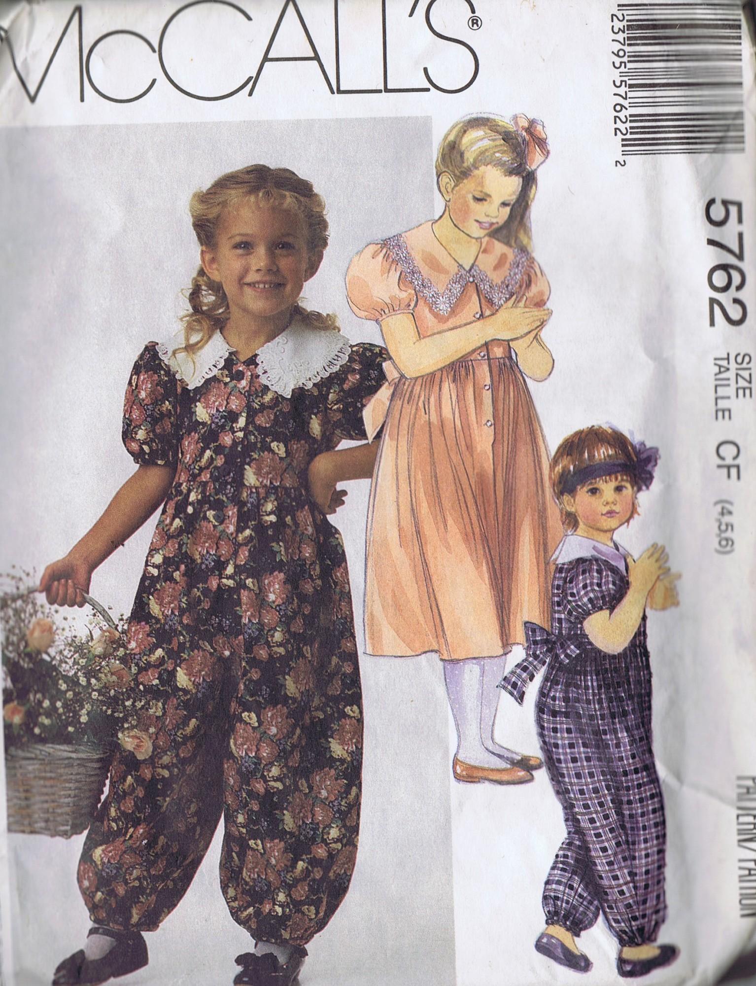 5762 McCalls Sewing Pattern Girls Dress Jumpsuit Size 4 to 6 UNCUT