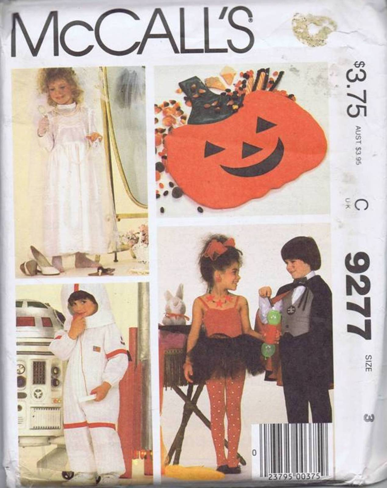 9277 McCalls Boys Girls Costume Sewing Pattern Astronaut Princess Bag Size 3 Here's a delightful costume sewing pattern for your toddler boy and girl in size 3, McCall's 9277 features a princess bride, astronaut, magician and a pumpkin shaped treats bag. SIZE 3 CHEST 22 WAIST 20.5""