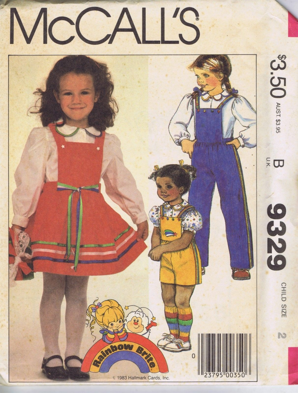 9329 McCalls Girls Dress Overalls Blouse Sewing Pattern Size 2 Bust 21 Inches Uncut McCall's 9329, features a jumper dress, overalls and blouse sewing pattern for toddler girls in size 2 with a 21 inch bust along with an applique, the pattern is uncut.