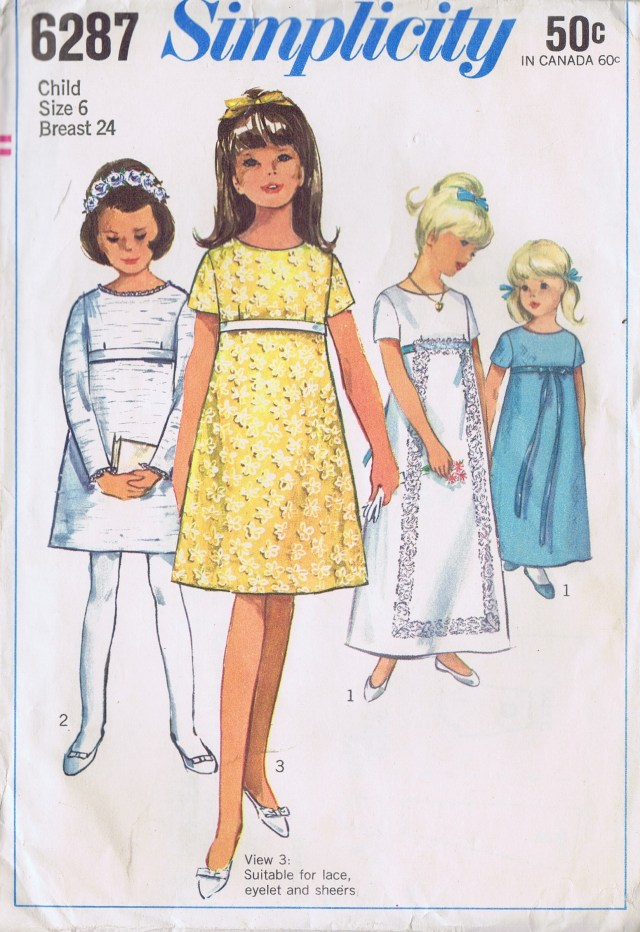 Girls Vintage Dress 6287 Simplicity Size 6