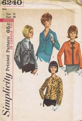 Simplicity 6240 Lined Jacket Pattern Size 14
