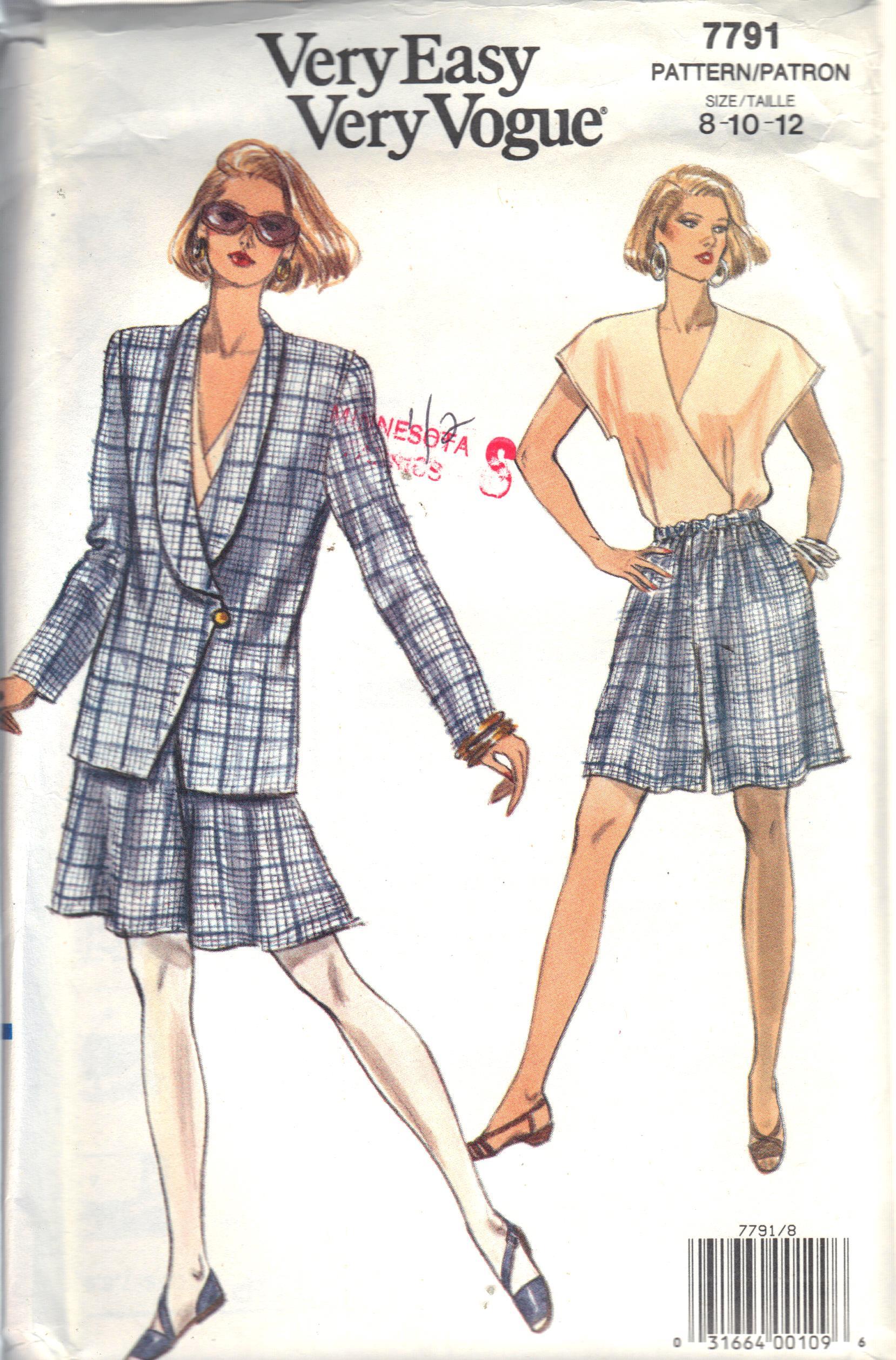 7791 Vogue Jacket Short Pattern Size 8-12