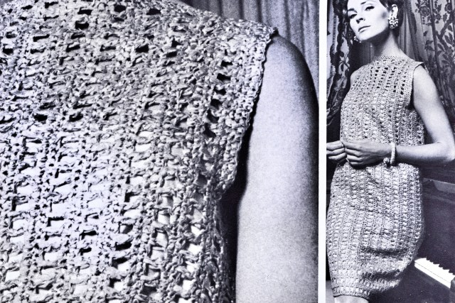 Vintage Crochet Shift Dress Pattern Bust 33-41 Inches