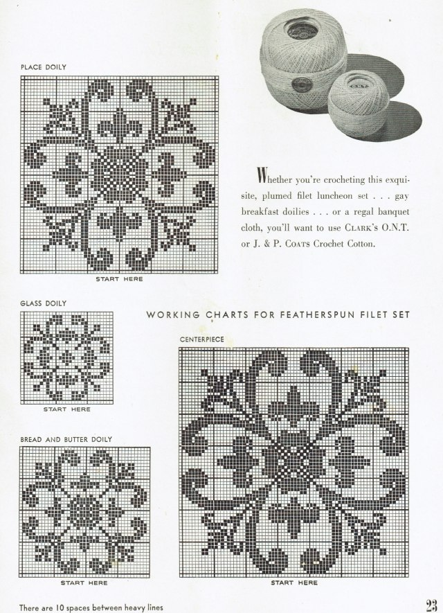 Free vintage filet crochet tablecloth patterns vintage patterns working charts for featherspun filet set ccuart Gallery