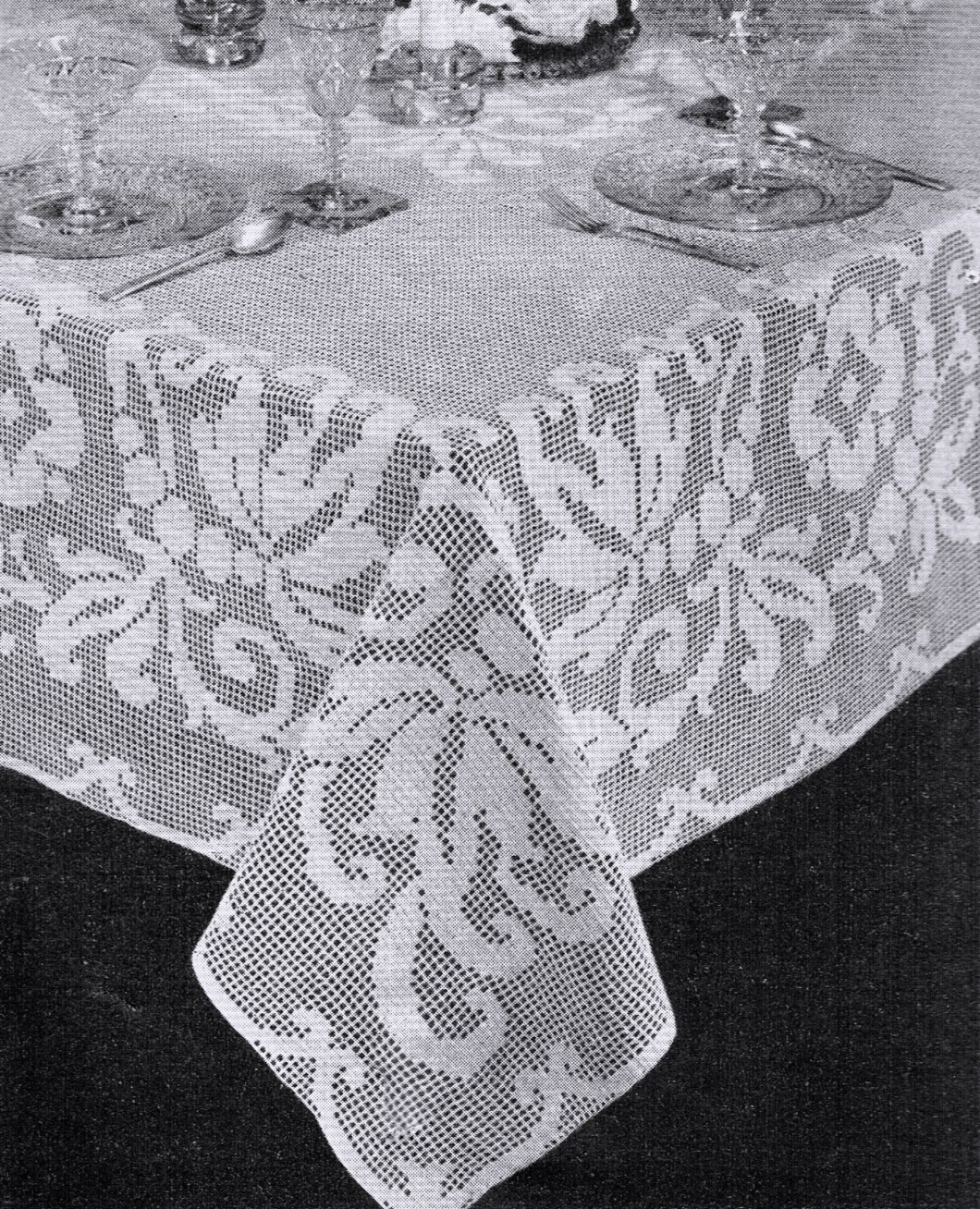 Free Filet Crochet Round Tablecloth Patterns Wallseat Co