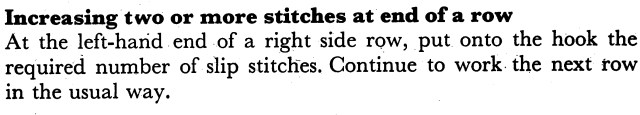 Increasing two or more stitches at the end of a row
