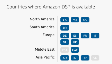Countries where Amazon DSP is available.