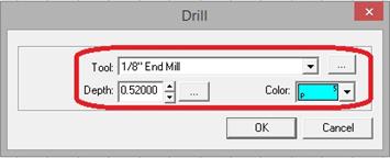 """Screen shot of 1/8"""" end mill selectecd in drop down menu"""
