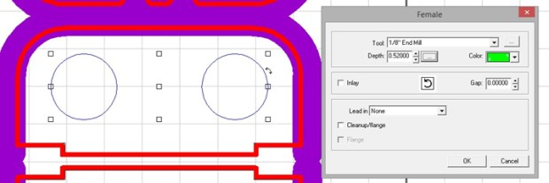 Screen shot of applied female tool path