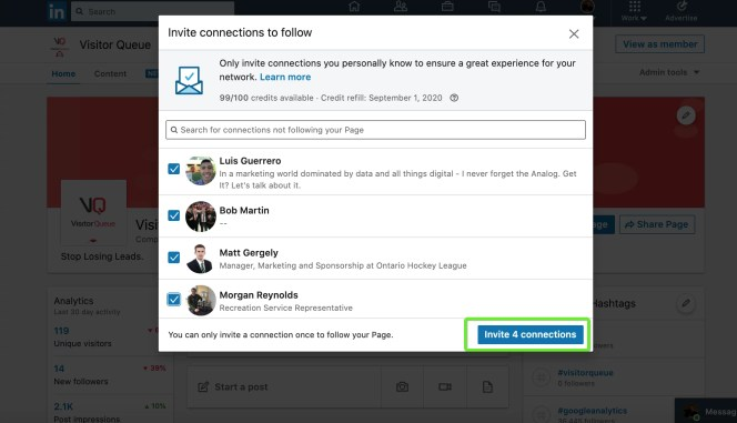 How To Gain Company LinkedIn Followers - Invite LinkedIn connections