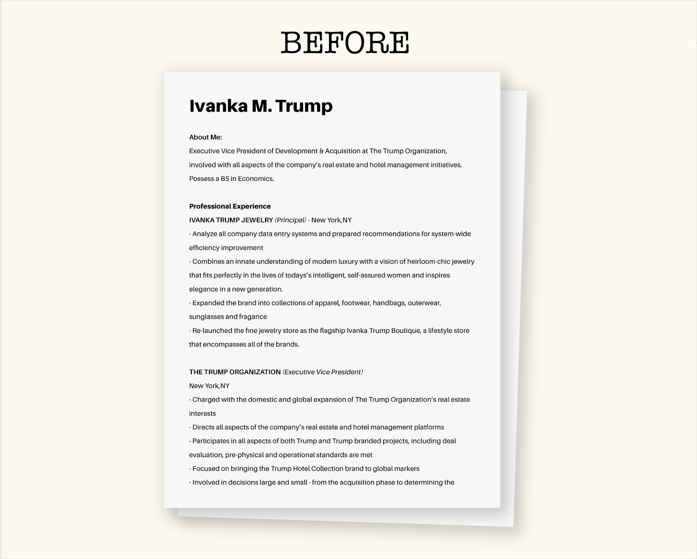 Ivanka Trump Resume How To Create Your Own Visual Resume Visual Learning