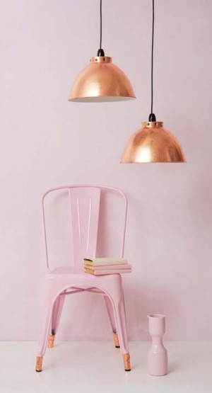 DIY copper lamps and pink chair with copper feet - via www.dailyfix.co.za