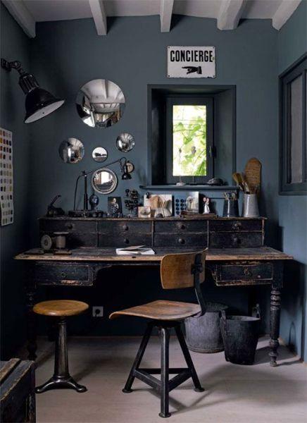 dark grey home office DARK DECOR ⋆ vkvvisuals.com/blog
