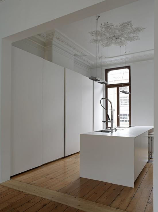A Belgian minimal kitchen in an opulent space, designed by Minus Interieur Architecten - via Remodelista