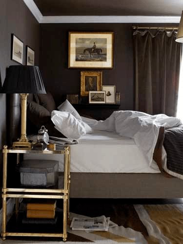 A classic dark bedroom, I love the bronze nightstand - via House Beautiful