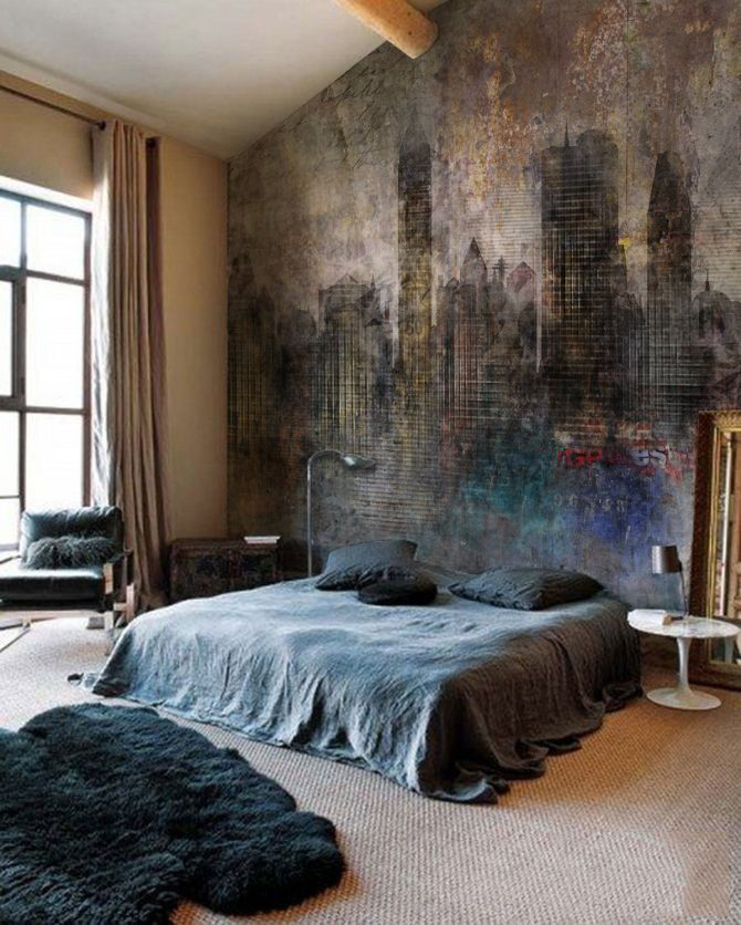 Boho bedroom with industrial painting on the wall - via Pixer