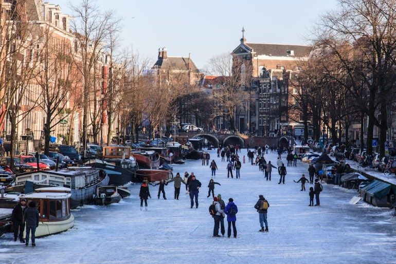 Our national sport, ice-skating, here seen on the Prinsengracht